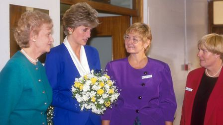 Helen with Princess Diana when she visited Mildmay in the 1980s. Picture: Mildmay