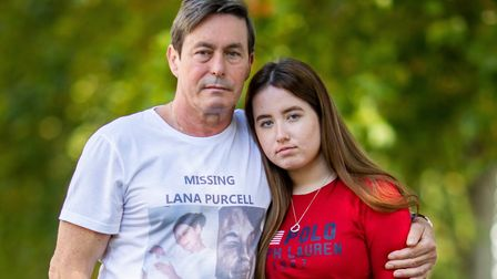 John Purcell, 61, and Megan Purcell, 15, the father and daughter of Lana Purcell, at the launch of a