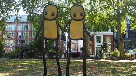 Stik's statue Holding Hands in Hoxton Square. Picture: Hackney Council