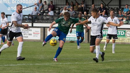 Joe White lines up a shot on goal for Hendon against Salisbury (Pic: DBeechPhotography)