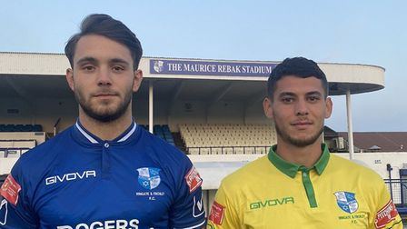 Sam Tring and Samir Bihmoutine modelling the new Wingate & Finchley kits (Pic: Wingate & Finchley)