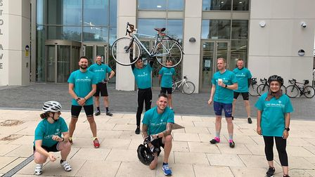 The squad of Barnet Council cyclists feeling perky prior to their long-distance ride. Picture: Barne
