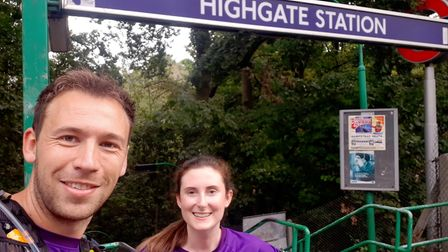 Stephen Moules was joined by friends on his London Underground station running challenge. Picture: S