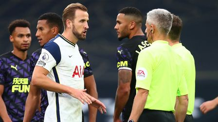 Tottenham Hotspur's Harry Kane speaks to the officials after the Premier League match at Tottenham H