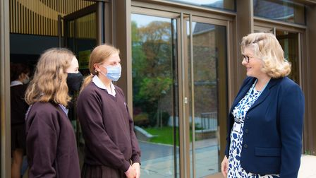 Mrs Hughes chatting with Channing pupils. Picture: Channing School