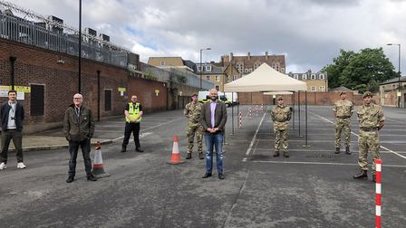 Hackney's first mobile test centre for Covid-19 in Dalston in May. Pictured (from left) Council sta