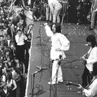 5th July 1969: British rock singer Mick Jagger, performing with The Rolling Stones, at the free ope