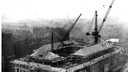 Work began on Camden Town Hall in 1934. The roof being constructed. Picture: AJ Thomas Archive