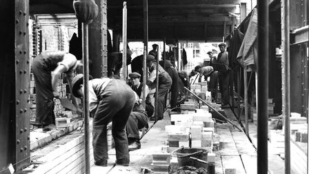 Masonry work being done. Picture: AJ Thomas Archive