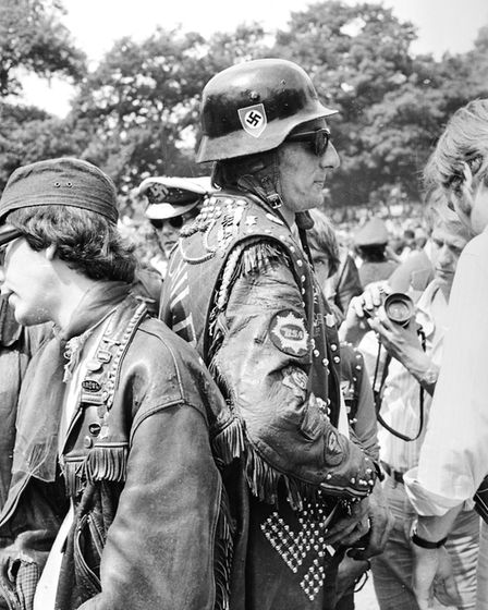 5th July 1969: A member of the Hell's Angels provides the security at a Rolling Stones gig in Londo
