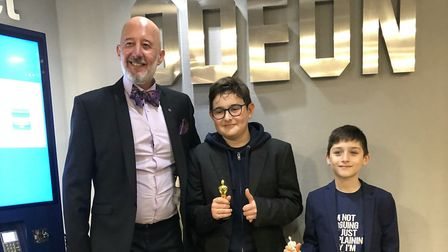 Fitzjohn's headteacher Rob Earrey with pupils at the premiere. Picture: Parents were able to to watc