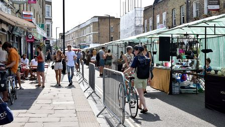 Broadway market when it re-opened with social distancing measures on August 8. Picture: Polly Hancoc