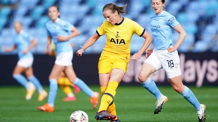 Tottenham Hotspur's Kerys Harrop (centre) during the Barclays FA Women's Super League match at The A