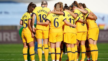 Tottenham Hotspur players huddle before kick off during the Barclays FA Women's Super League match a