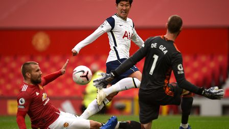 Tottenham Hotspur's Son Heung-min (centre) scores his side's second goal