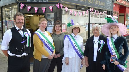 The cast of Little Cabaret of Suffragette outside Hunny Bee Vintage shop. Picture: Mick Howes