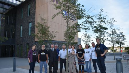 The RAGE campaign group prior to the planning meeting outside the Waveney District Council offices.