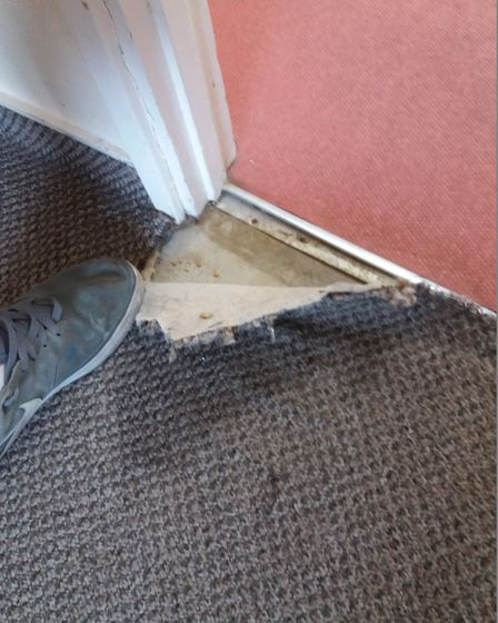 Ripped and wet carpet in Pontins, Pakefield. Picture: Louis Burns