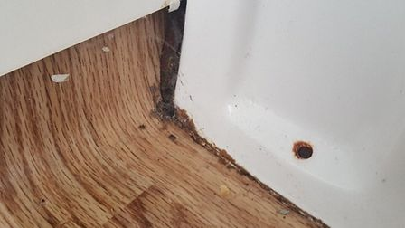 Mould and grime at the base of a toilet in Pontins, Pakefield. Picture: Rachel Bailey-Everest