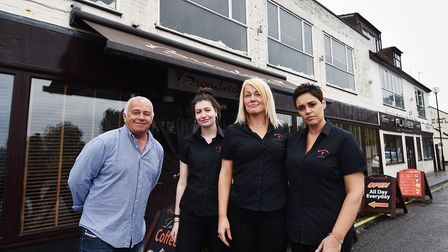 Spar shop closure on Oulton Road at Oulton Broad. Broadview bar owner Sean Smith with his staff, lef