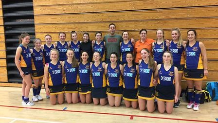 Upminster's women face the camera at the East Indoor tournament at UEA