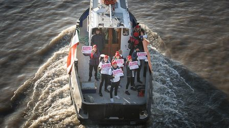 Our Future, Our Choice activists campaign in support of a People's Vote on a boat. Photograph: Stefa