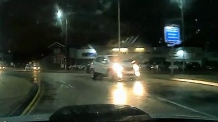 The moment a careless driver crossed onto the wrong side of the road and drove into oncoming traffic