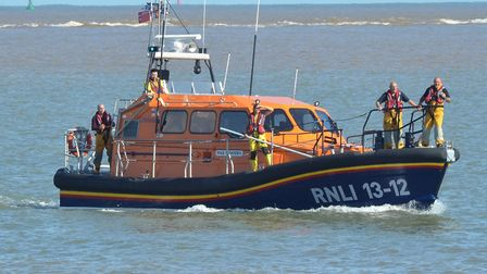 The Lowestoft RNLI Lifeboat crew searching off Pakefield. Picture: Mick Howes