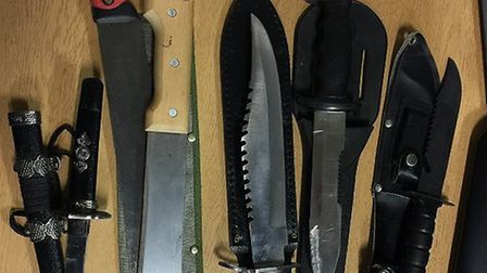 These are just some of the large knives handed to police in Lowestoft as part of an amnesty. Photo: