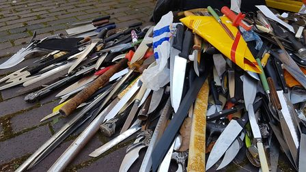 A knife amnesty bin emptied to mark the launch of Operation Sceptre Picture: RACHEL EDGE