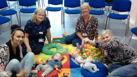Charmaine Dowling (left) with Jaxon at the first Tiny Tots meeting. Picture: East Coast Community He