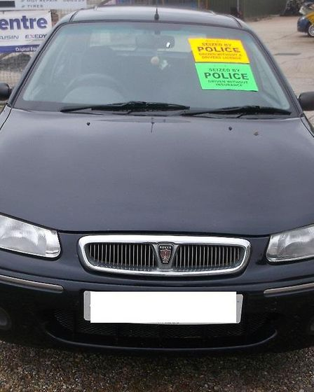 A car was seized in Oulton Broad after the driver wasfound to have no insurance and driving licence.
