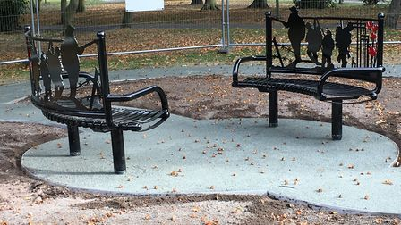 The new memorial benches being installed in Belle Vue Park, Lowestoft. Pictures: Mark Boggis