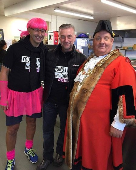 Andy Currie, Morrisons area manager Sean Fellows and mayor Ian Graham at the Morrisons Makes Miles e