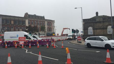 The roadworks on Station Square, Lowestoft. Picture: Conor Matchett