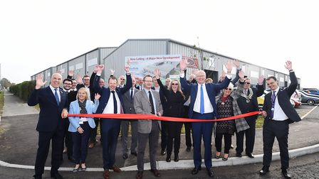 Opening of the Phoenix Enterprise Park in Lowestoft. Peter Aldous MP cutting the ribbon.Picture: ANT