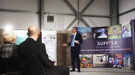 Opening of the Phoenix Enterprise Park in Lowestoft. Councillor Matthew Hicks speaking at the event.