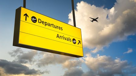 Departures and arrivals at a UK airport. Photograph: Alice-Photo/Getty.