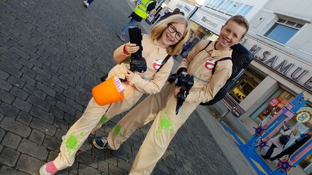Youngsters dressed as Ghostbusters