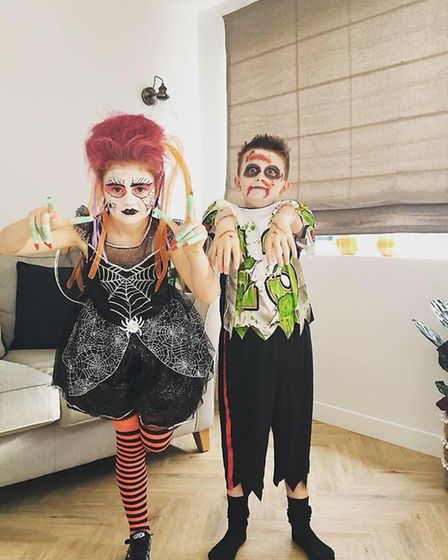 Oliver and Hattie ready for 1st Blundeston Beavers Halloween party. Photo: Lindsay Weavers