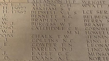 Lowestoft student Olivia Smith is working at the Thiepval Memorial in France. Among those on the mem
