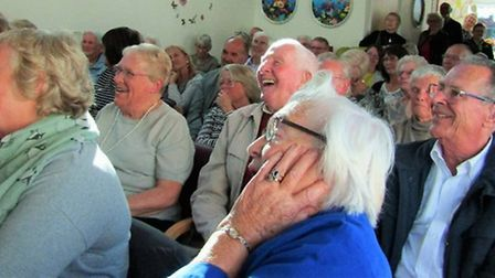 The crowds enjoying Charles Hanson's visit. Picture: Wellbeing Day Centre