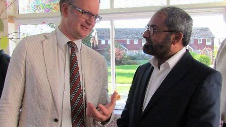 Charles Hanson sharing a conversation with Mr Patel, the director of Wellbeing Care Ltd. Picture: We