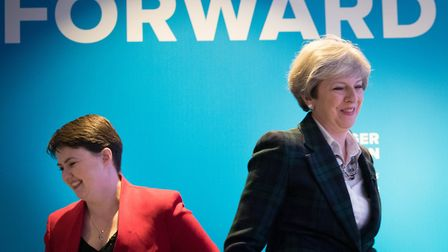 Conservative party leader Theresa May and Scottish Conservative leader Ruth Davidson. Photograph: St
