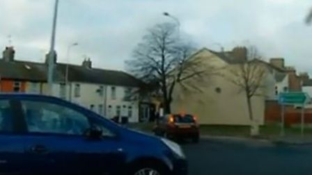 The near miss on the roundabout in Lowestoft was captured on dashcam at 2.30pm, today (November 19).