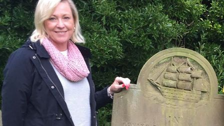 Roxanne Salt pictured at her great grandfather's grave. Picture: Contributed