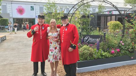 Stephanie Harrod with Chelsea Pensioners at the Chelsea Flower Show. Picture: Harrod Horticultural