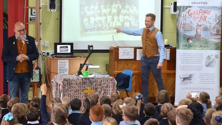 Zeb Soanes and James Mayhew speak to Blundeston Primary School pupils. Picture: Mick Howes