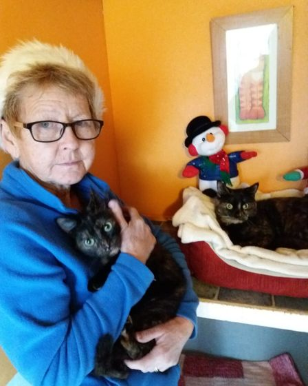 Christine Cutts has now taken in Holly and Ivy for Christmas. Photo: Cats Protection Anglia Coastal.