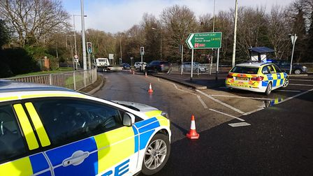 Part of the A47 is closed in Lowestoft following a collision. Picture: Norfolk and Suffolk Roads and